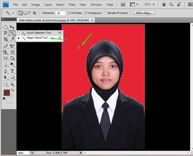 cara crop foto di photoshop