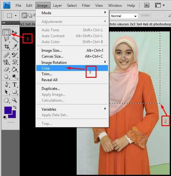 cara membuat pas foto ukuran 2x3 3x4 4x6 di photoshop 8
