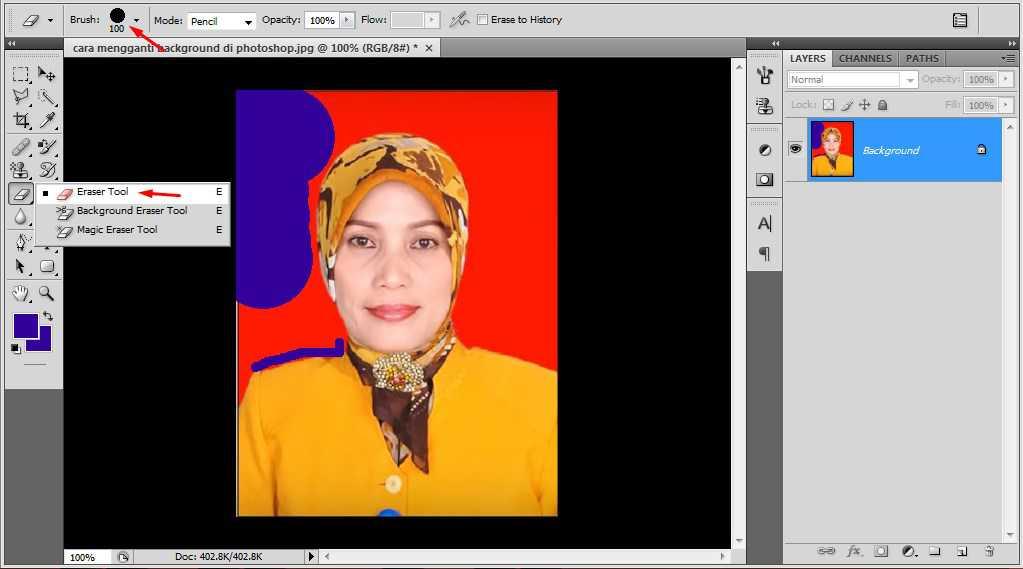 cara mengganti background di photoshop dengan eraser tool