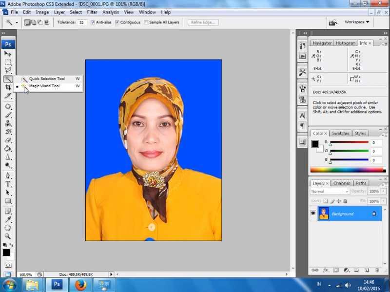 cara mengganti background foto di photoshop