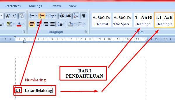 cara membuat daftar gambar di word 2007