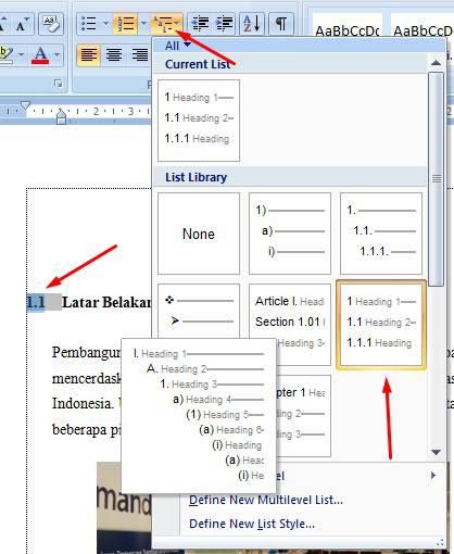 cara membuat daftar isi table di word 2007